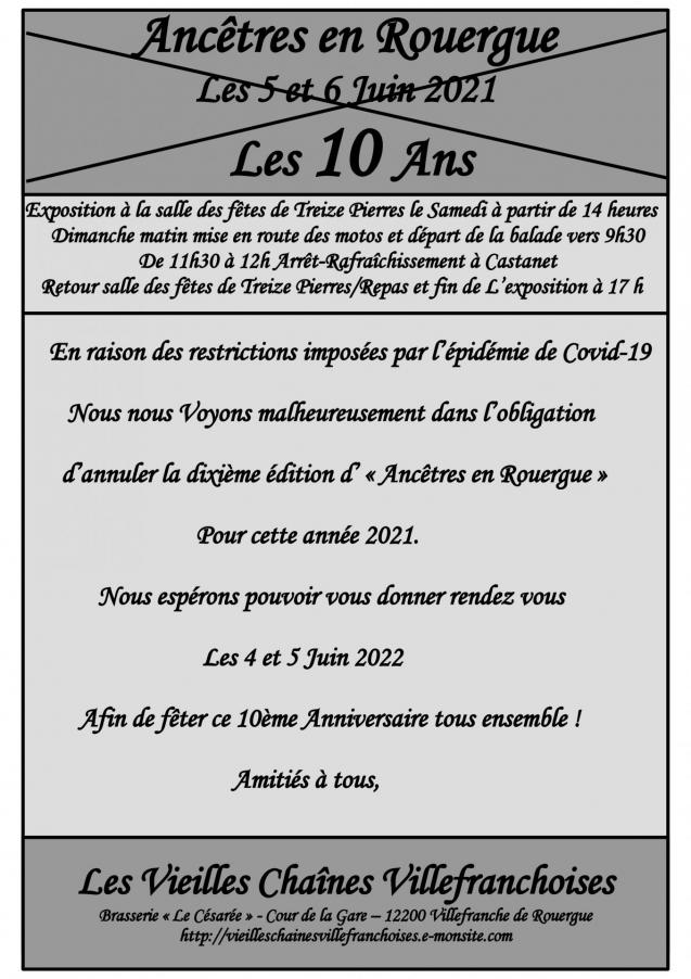 Affiche ancetres 2021 annulation